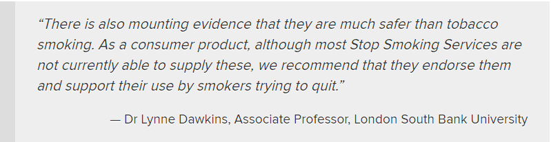 Dr Dawkins Second quote, On using e-cigs as a cessation tool