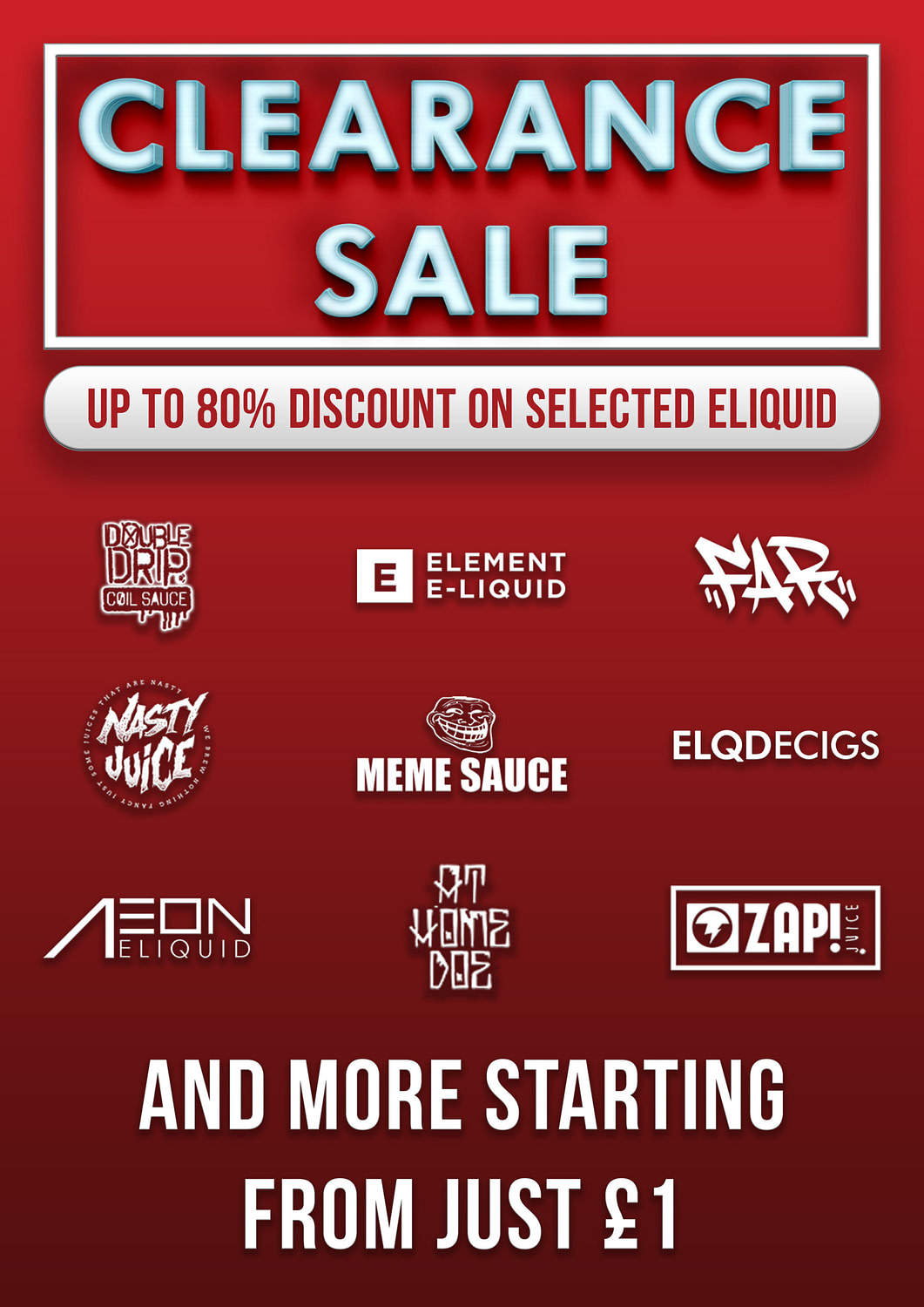 Eliquid Clearance Sale! Bottles from £1
