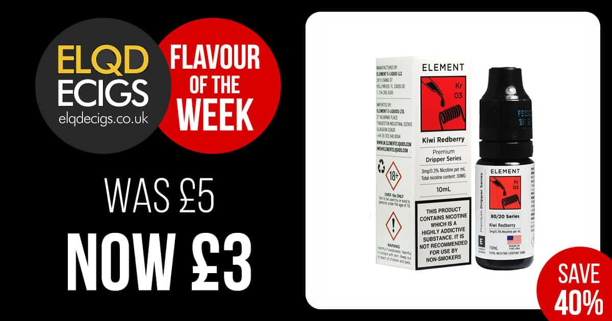 Flavour Of The Week: 40% OFF Element – Kiwi Redberry